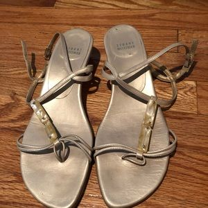 Stuart Weitzman gold strapped sandals- 9